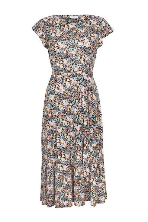Petite Pink Floral Print Belted Midi Dress