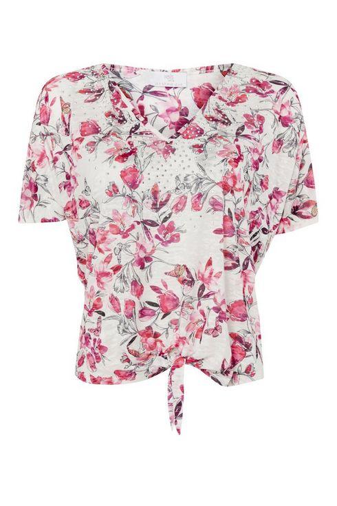 Petite Pink Floral Print Tie Front Top