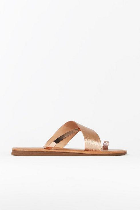 Rose Gold Cross Strap Slider Sandal