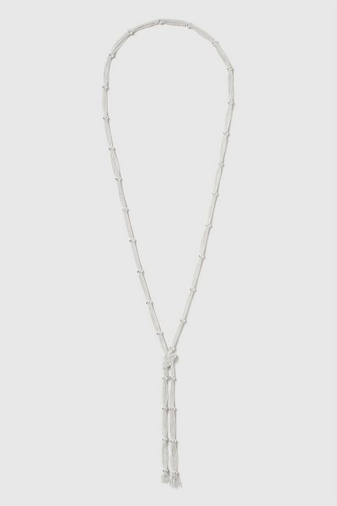 Silver Mesh Lariat Necklace