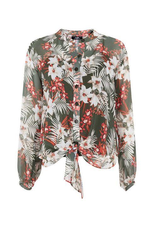 **Tall Khaki Leaf Print Tie Hem Shirt