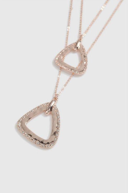 Triangle Diamante Double Layer Necklace