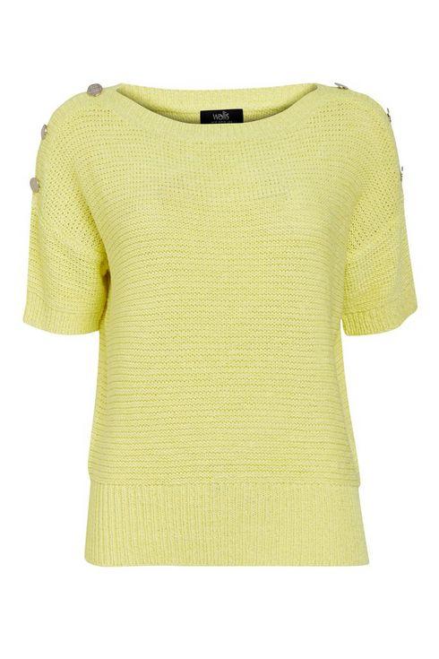 Yellow Button Short Sleeve Jumper