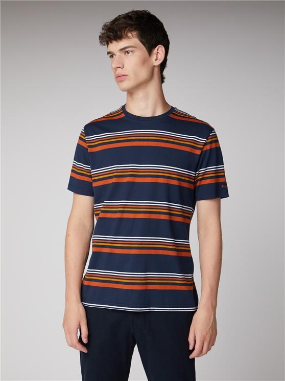 90s Navy White & Orange Striped T-Shirt | Ben Sherman | Est 1963 - Small loving the sales