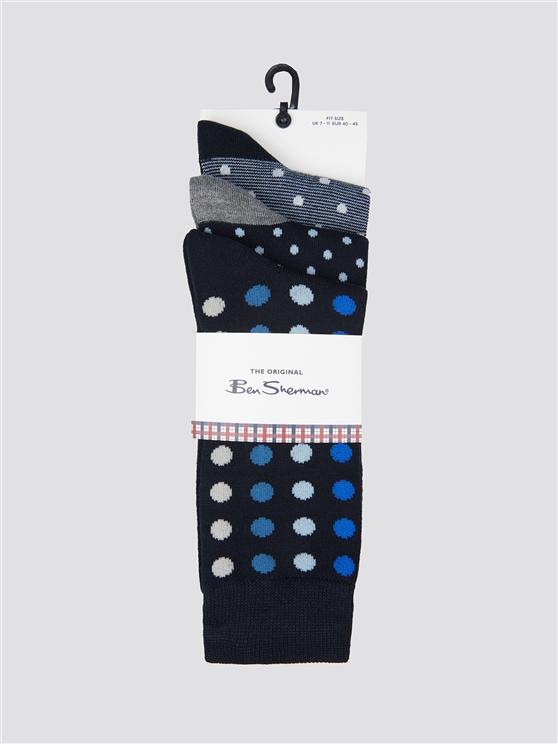 Ben Sherman 3 Pack Of Spotted Socks Navy | Ben Sherman - 7-11 loving the sales