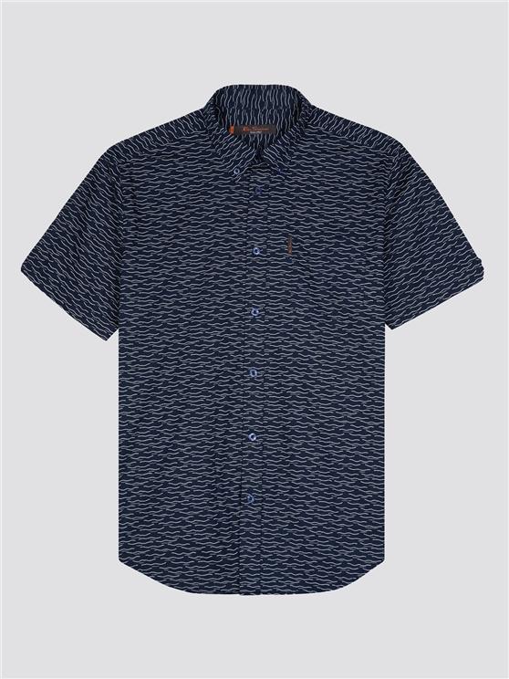 Ben Sherman Short Sleeve Wave Print Shirt Navy | Ben Sherman - Medium loving the sales