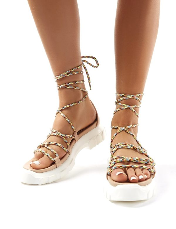 Dynamic  Neon Lace Up Chunky Sandals