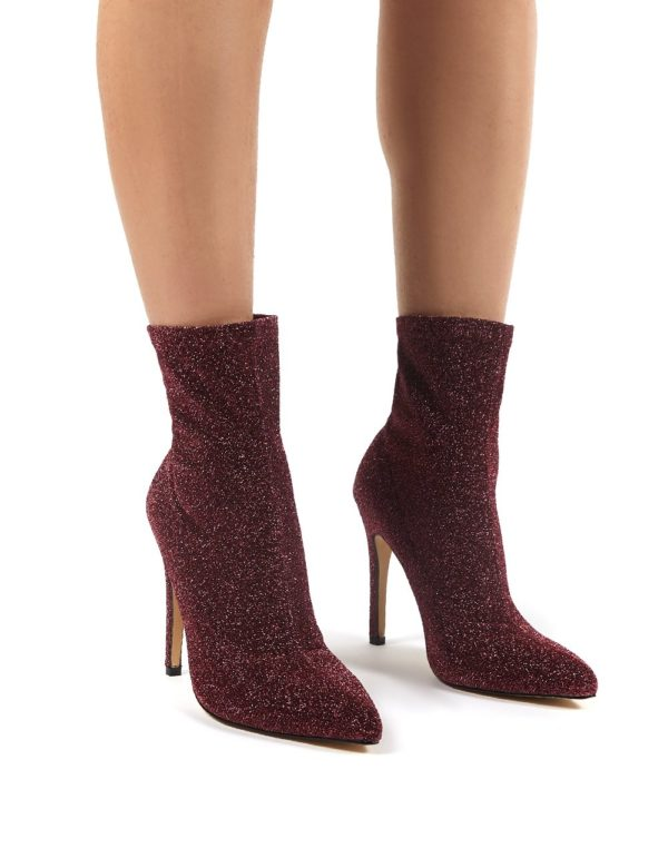 Glitz  Glitter Sock Ankle Boot Heels