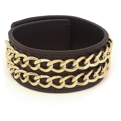 Guess Black Leather Cuff Bracelet With Two Gold Plated Chains. loving the sales