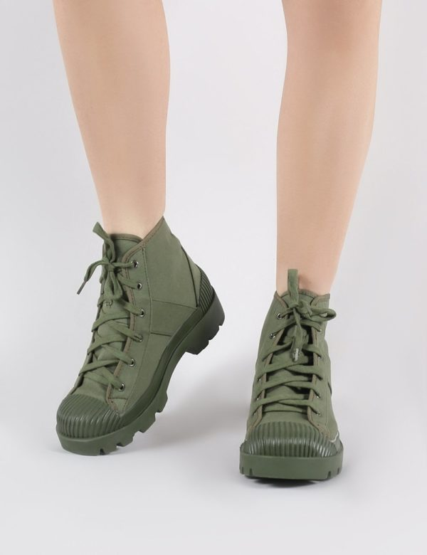 Land Ankle Boots In Khaki Canvas