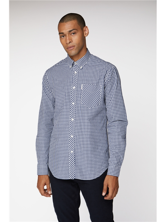 Long Sleeve Gingham Shirt Coloured In Blue Depths - Small loving the sales