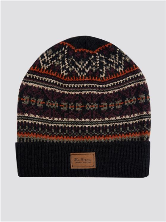 Men's Black Fairisle Knitted Woolly Hat | Ben Sherman | Est 1963 - One Size loving the sales