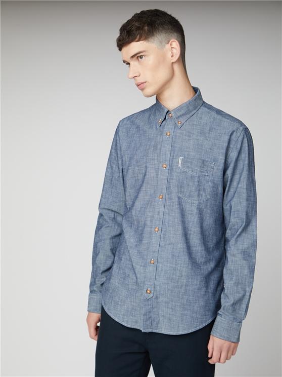 Men's Blue Long Sleeved Chambray Shirt | Ben Sherman | Est 1963 - Xs loving the sales