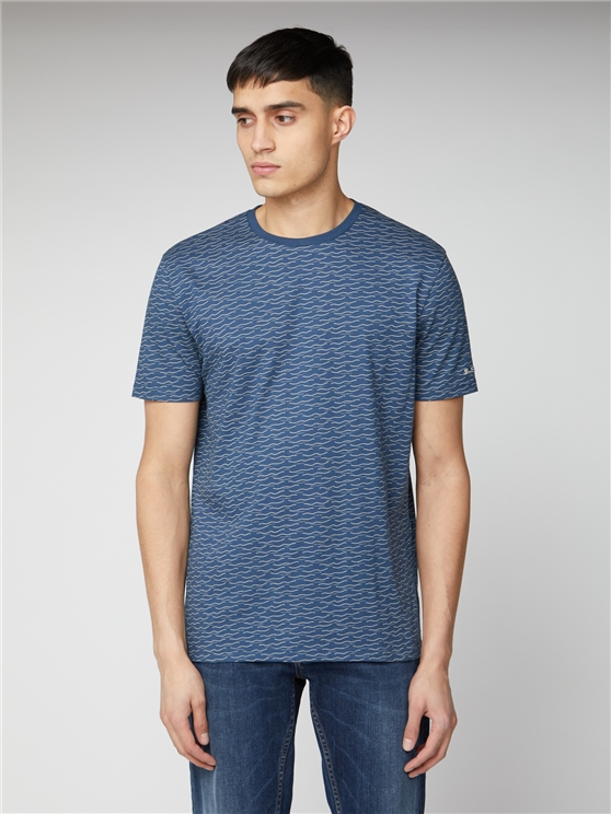 Men's Blue Wave Print T-Shirt | Ben Sherman | Est 1963 - Xs loving the sales