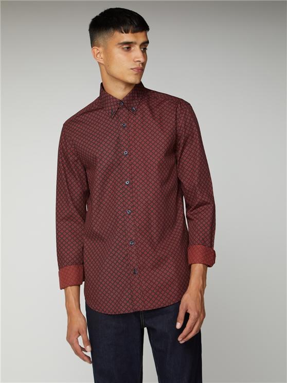 Men's Geometric Rust Red Oxford Shirt | Ben Sherman | Est 1963 - Small loving the sales