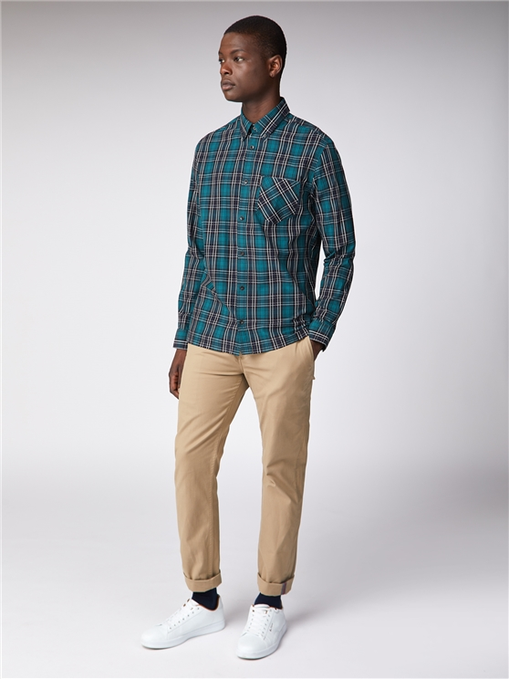 Men's Green & Blue Tartan Checked Shirt | Ben Sherman | Est 1963 - Small loving the sales