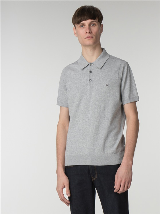 Men's Grey Cotton Knitted Polo Shirt | Ben Sherman | Est 1963 - Xs loving the sales