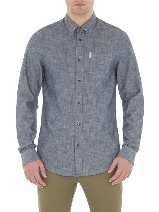 Men's Navy Blue Chambray Shirt   Ben Sherman   Est 1963 - Xs loving the sales