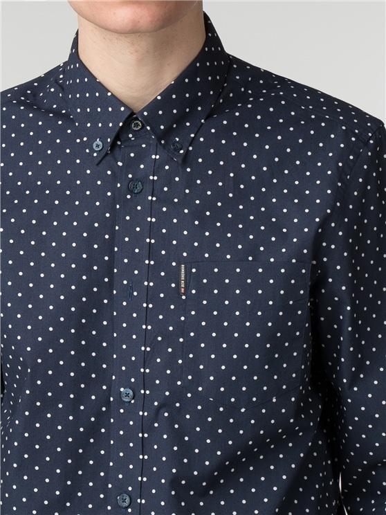 Men's Navy Blue & White Polka Dot Shirt | Ben Sherman | Est 1963 - Medium loving the sales
