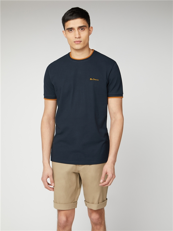 Men's Navy Pique T-Shirt | Tipped Tee | Ben Sherman Est 1963 - Xs loving the sales