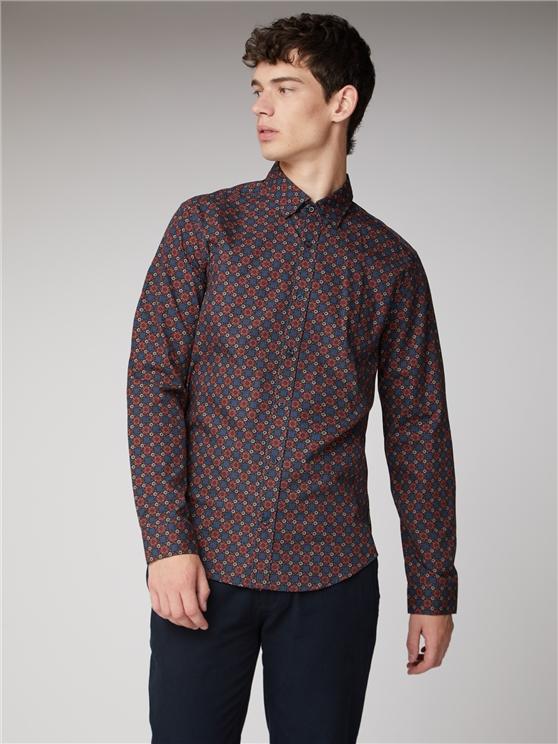 Men's Red & Blue Foulard Print Shirt | Ben Sherman | Est 1963 - Medium loving the sales