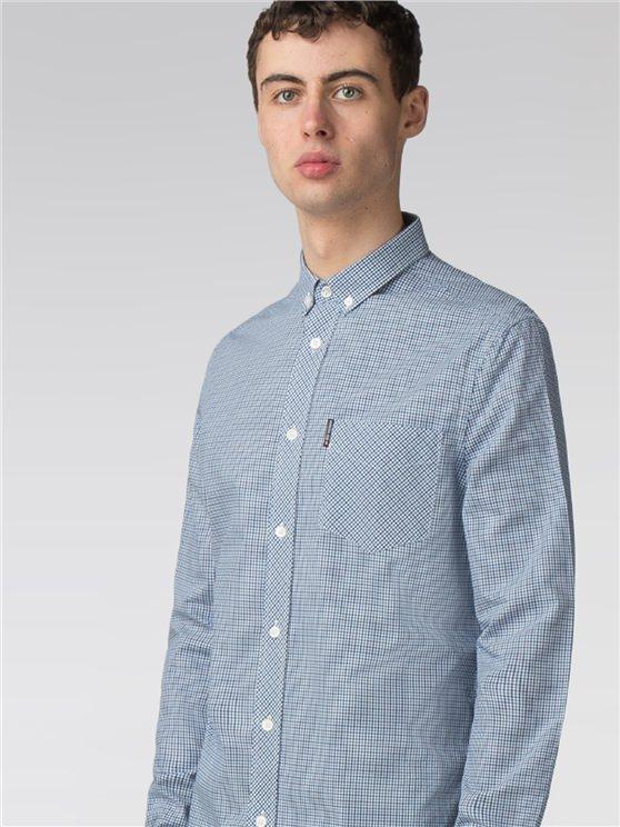 Men's Sky Blue Mini House Gingham Shirt   Ben Sherman   Est 1963 - Xs loving the sales