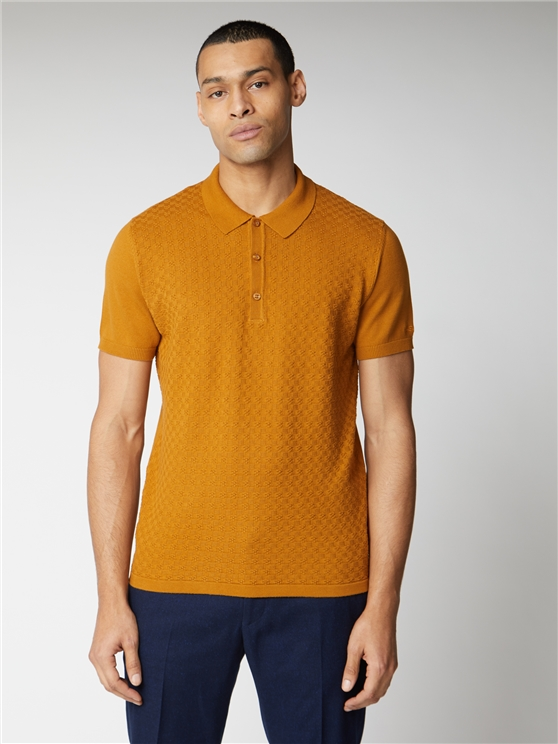 Men's Yellow Textured Knit Polo Shirt | Ben Sherman | Est 1963 - Small loving the sales