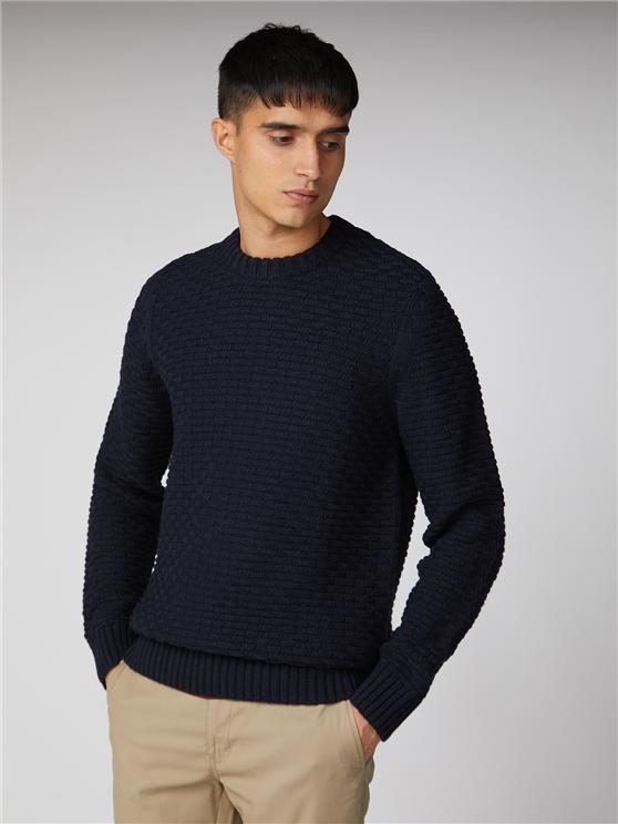 Navy Blue Textured Crew Neck Sweater | Ben Sherman | Est 1963 - 4xl loving the sales