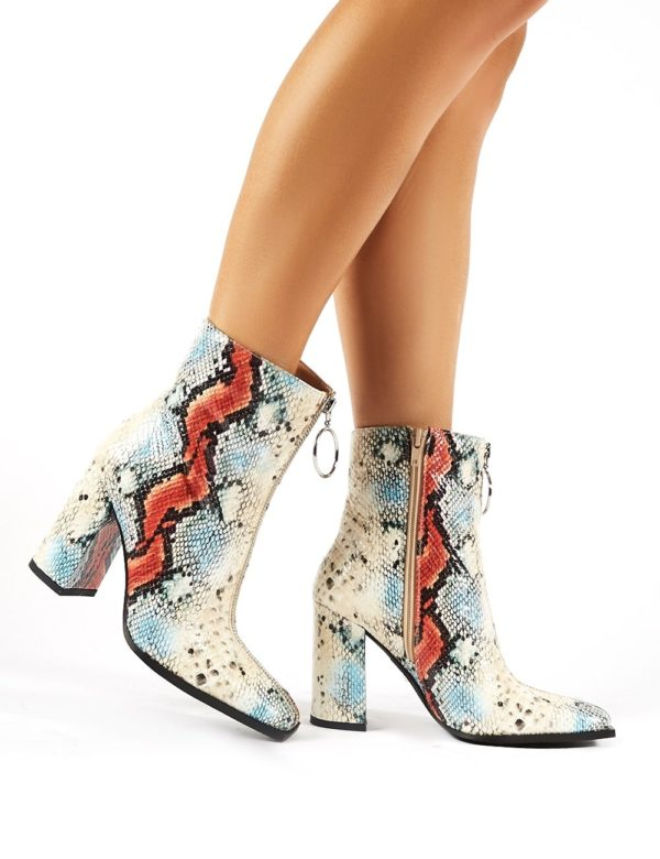 Payback  Snakeskin Zip Up Block Heeled Ankle Boots