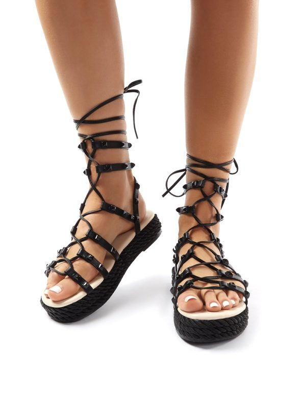 Thea  Lace Up Studded Gladiator Sandals