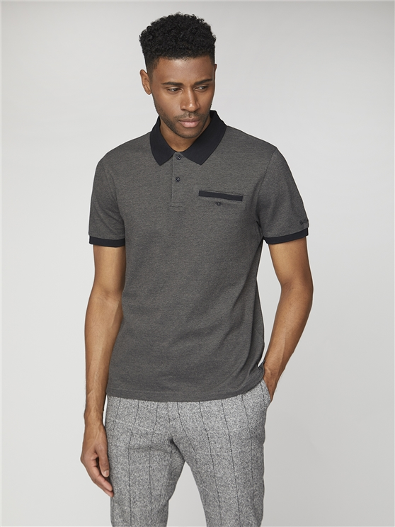 Two Tone Pique Polo Shirt Grey   Ben Sherman - Small loving the sales