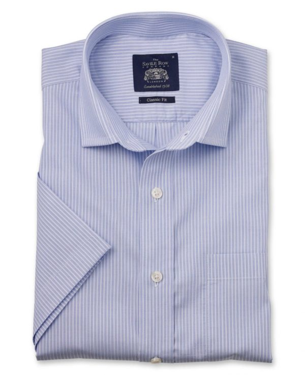 Blue White Stripe Dobby Classic Fit Short Sleeve Casual Shirt S loving the sales