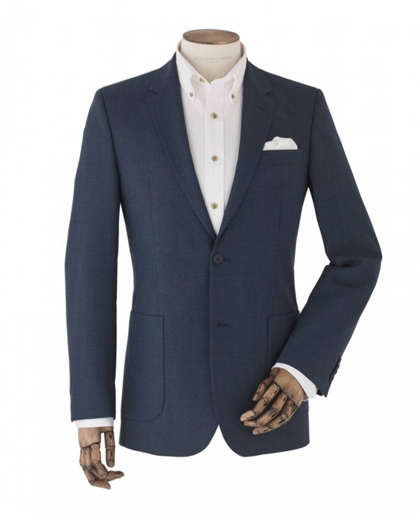 "Blue Wool-Blend Micro Pattern Single-Breasted Jacket 48"" Short loving the sales"