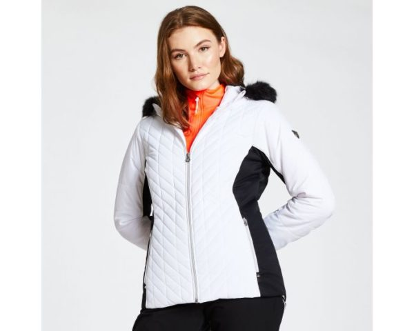 Dare 2b - Women's Icebloom Luxe Faux Fur Trimmed Quilted Ski Jacket White loving the sales