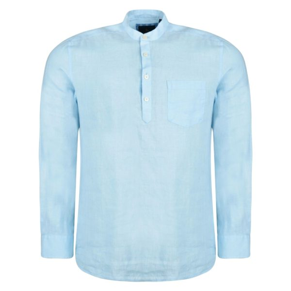 Magee 1866 Baby Blue Corlea Washed Irish Linen Grandfather Classic Fit Shirt loving the sales