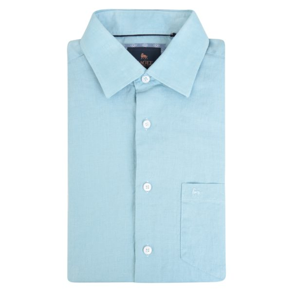 Magee 1866 Blue Rosbeg Washed Irish Linen Short Sleeve Classic Fit Shirt loving the sales