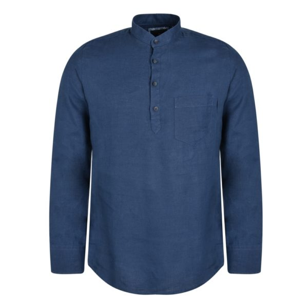 Magee 1866 Indigo Corlea Washed Irish Linen Grandfather Classic Fit Shirt loving the sales