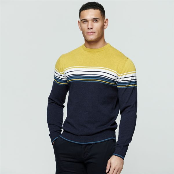 Magee 1866 Navy & Chartreuse Termon Striped Cotton Crew Neck Jumper loving the sales