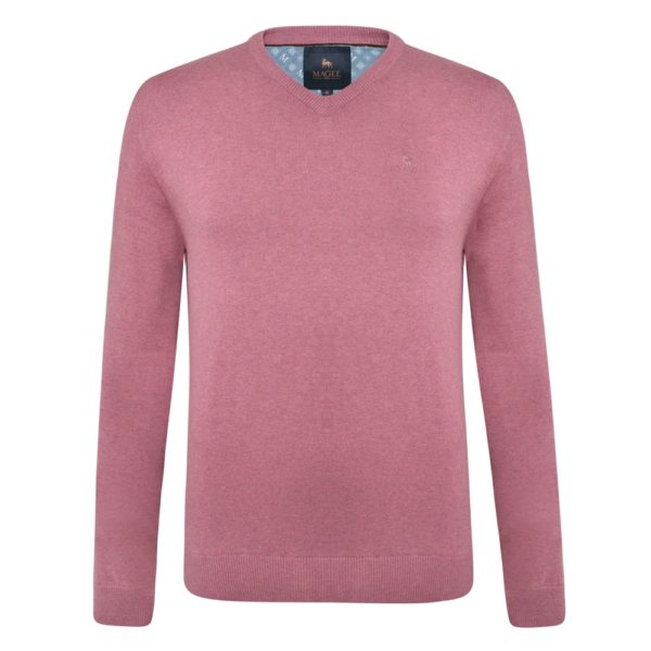 Magee 1866 Pink Carn Cotton V Neck Jumper loving the sales