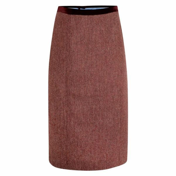 Magee 1866 Raspberry Dana Herringbone Donegal Tweed Skirt loving the sales