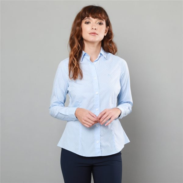 Magee 1866 Sky Blue Hannah Jacquard Classic Fit Shirt loving the sales