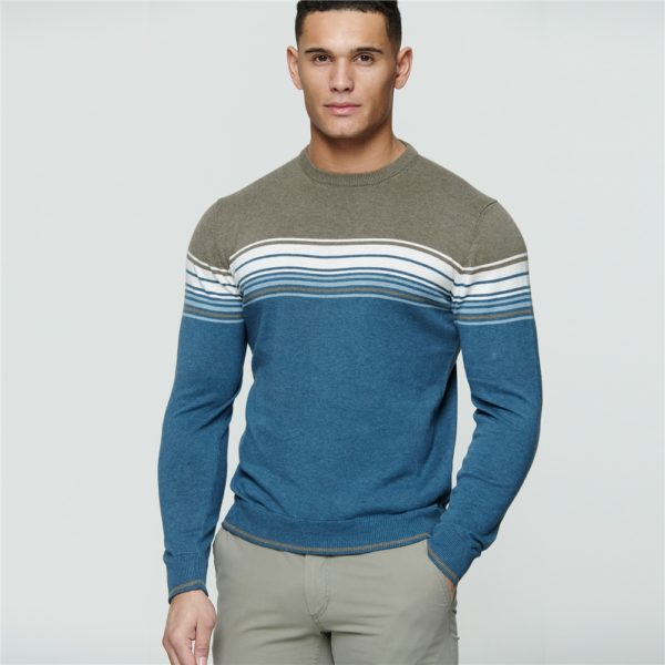 Magee 1866 Teal & Taupe Termon Striped Cotton Crew Neck Jumper loving the sales