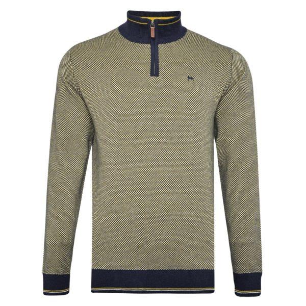Magee 1866 Yellow Cashelenny Birdseye Cotton 1/4 Zip Sweater loving the sales