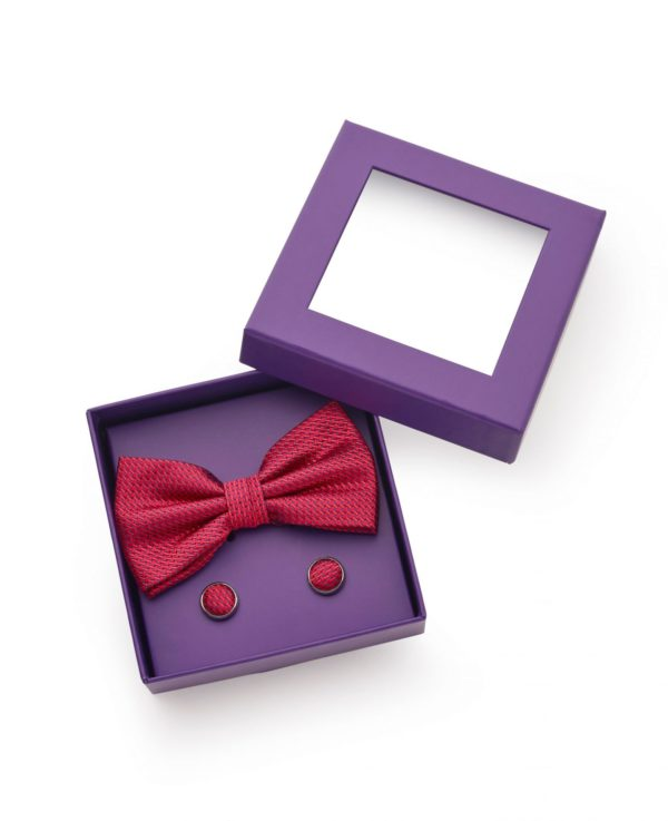 Red Blue Basket Weave Silk Bow Tie & Cufflink Set loving the sales
