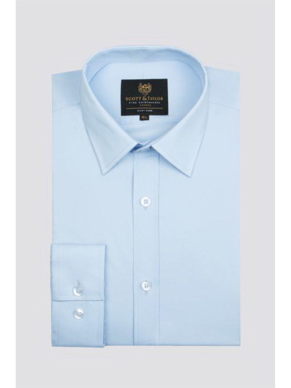 Scott  Taylor Blue Poplin Single Cuff Shirt 17.5 Blue loving the sales