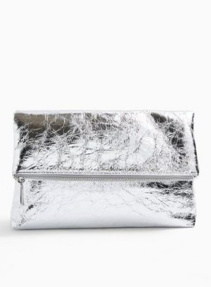 Womens Act Silver Fold Over Clutch Bag
