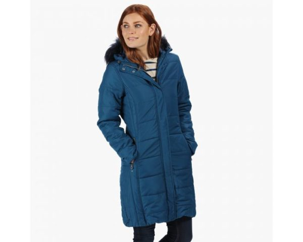 Women's Fermina Ii Long Length Quilted Puffer Parka Jacket Blue Opal loving the sales