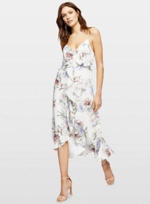 Womens Ivory Big Bloom Frill Midi Dress