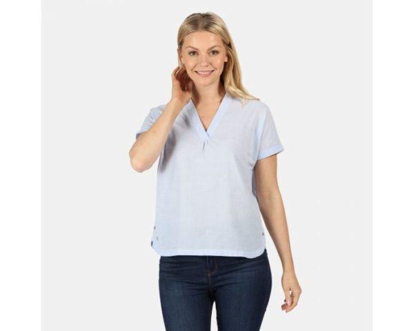 Women's Jacinda Coolweave V-Neck Top Blue Skies loving the sales