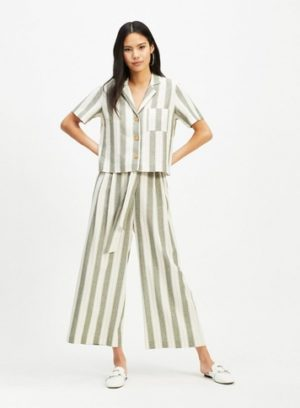 Womens Khaki Stripe Linen Paperbag Trousers